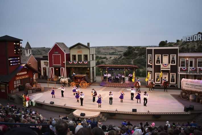 The outdoor theatre musical in historic Medora, North Dakota, which isdedicated to President Theodore Roosevelt's time ...