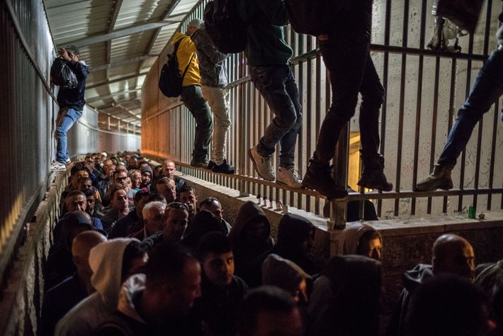 At Checkpoint 300 near Bethlehem, Palestinians from the West Bank, some climbing the walls to jump ...