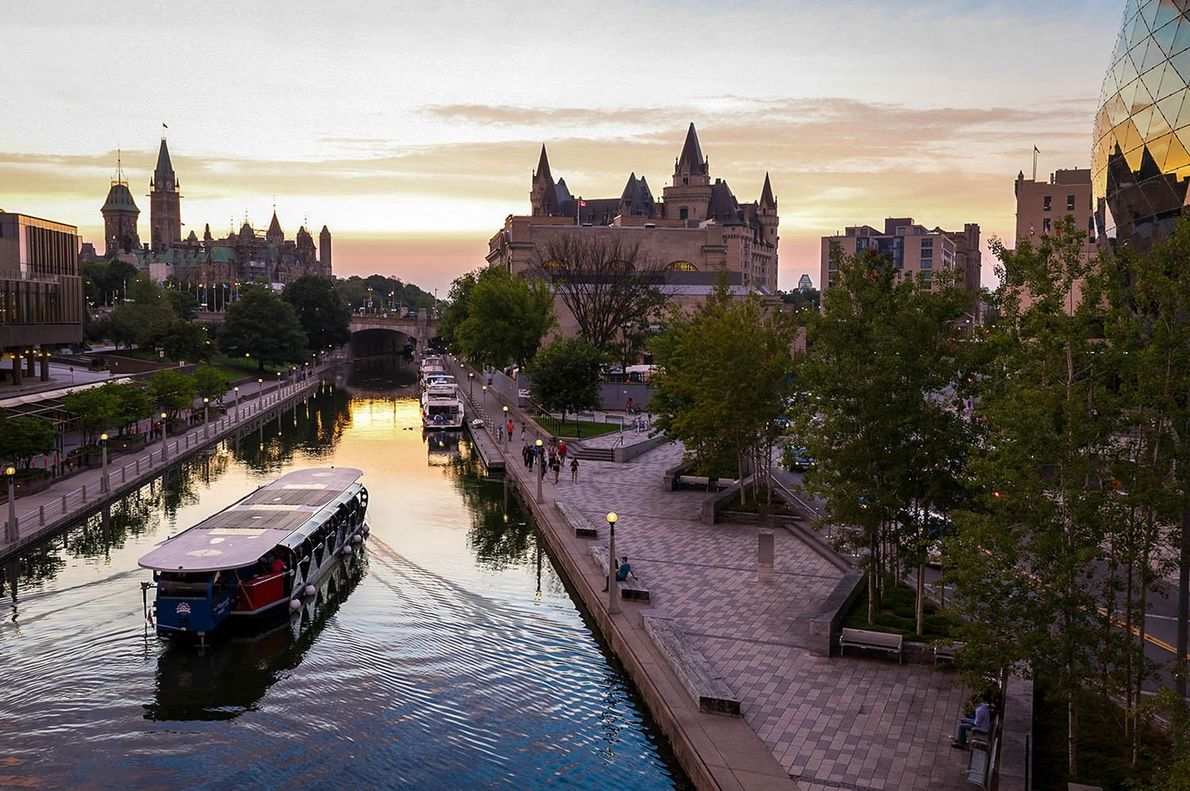 The Rideau Canal connects Canada's capital city of Ottawa, Ontario, to Lake Ontario and the Ottawa ...