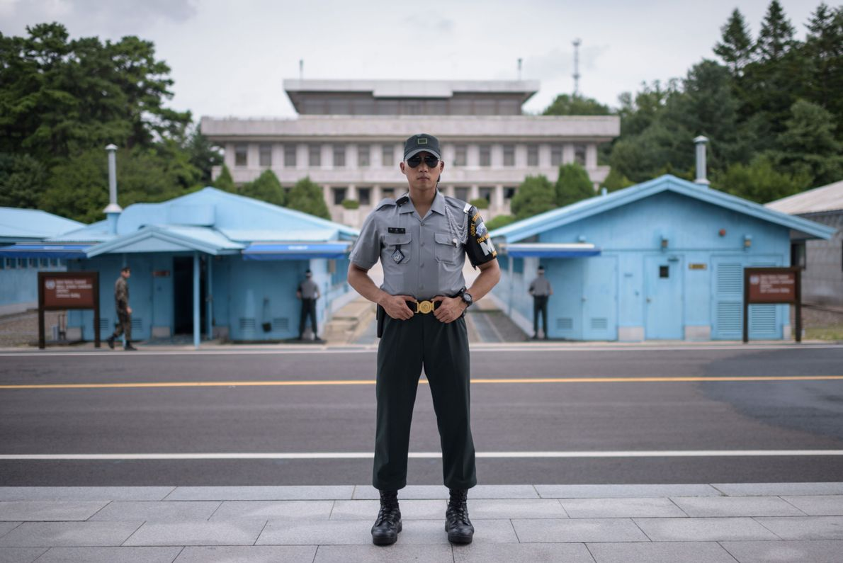 Republic of Korea Army soldier Corporal Woo poses for a portrait on the south side of ...