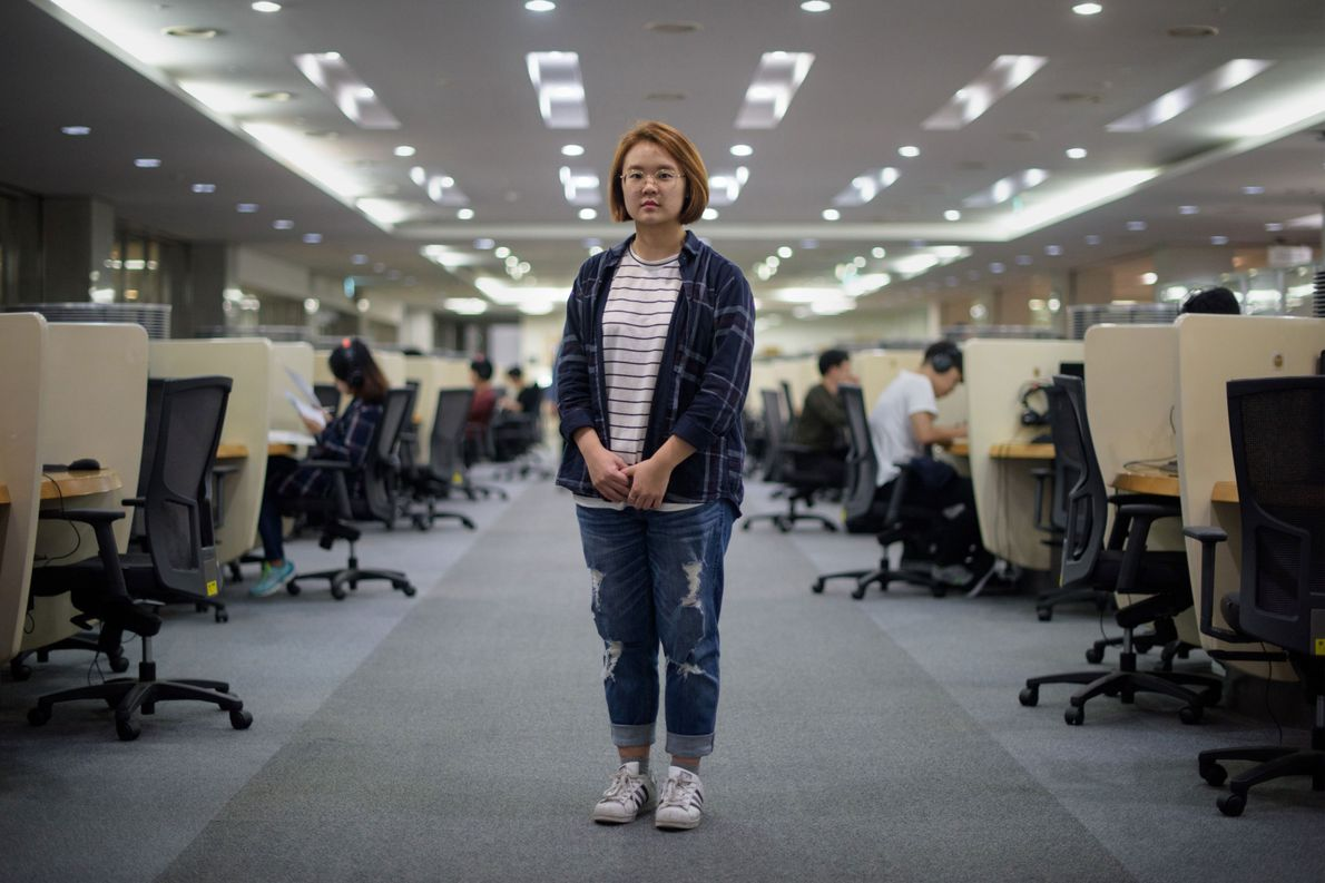 Student Jenni Lim, 21, stands in a computer lab at Yonsei University in Seoul, South Korea.