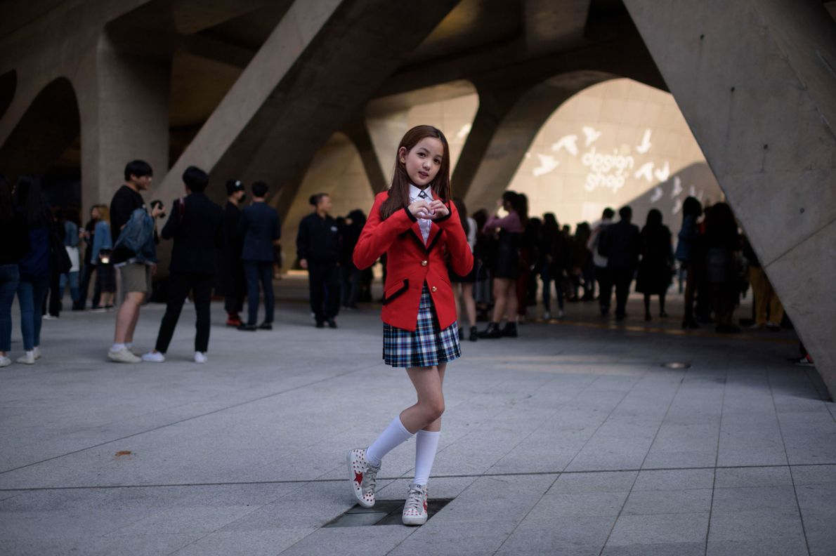 Yoon Hyerim, 10, poses for a portrait following a dance performance at Dongdaemun Design Plaza during ...