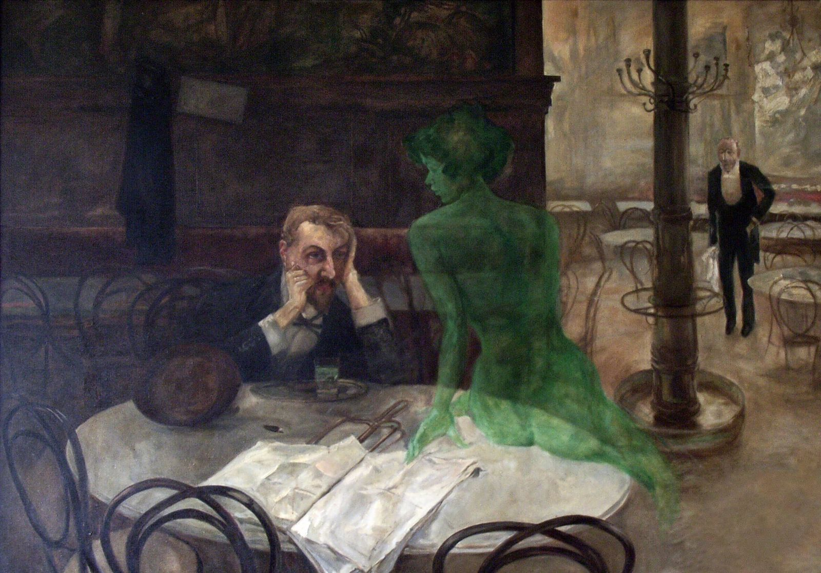"""""""The Absinthe Drinker"""" (1901) by Viktor Oliva. Popular with artists and bohemians around the turn of ..."""
