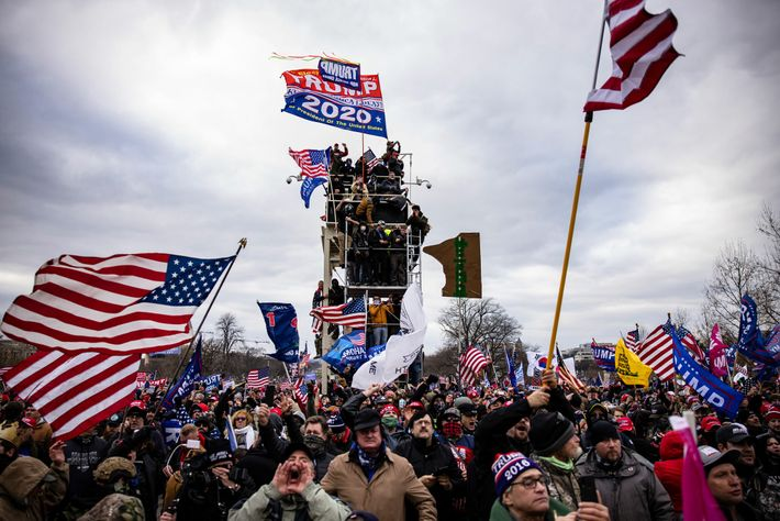 Pro-Trump supporters storm the U.S. Capitol following a rally with President Donald Trump on January 6, ...