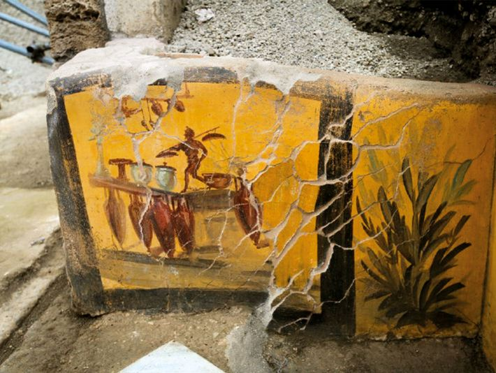 A fresco of a server decorated a  thermopolium, a hot-food outlet, in the Alley of the ...