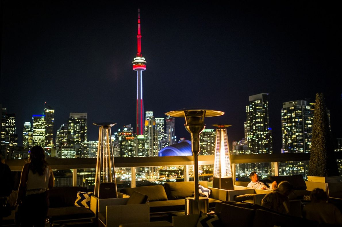 The incredible city view of Toronto at night, from the Thompson hotel's rooftop lounge.