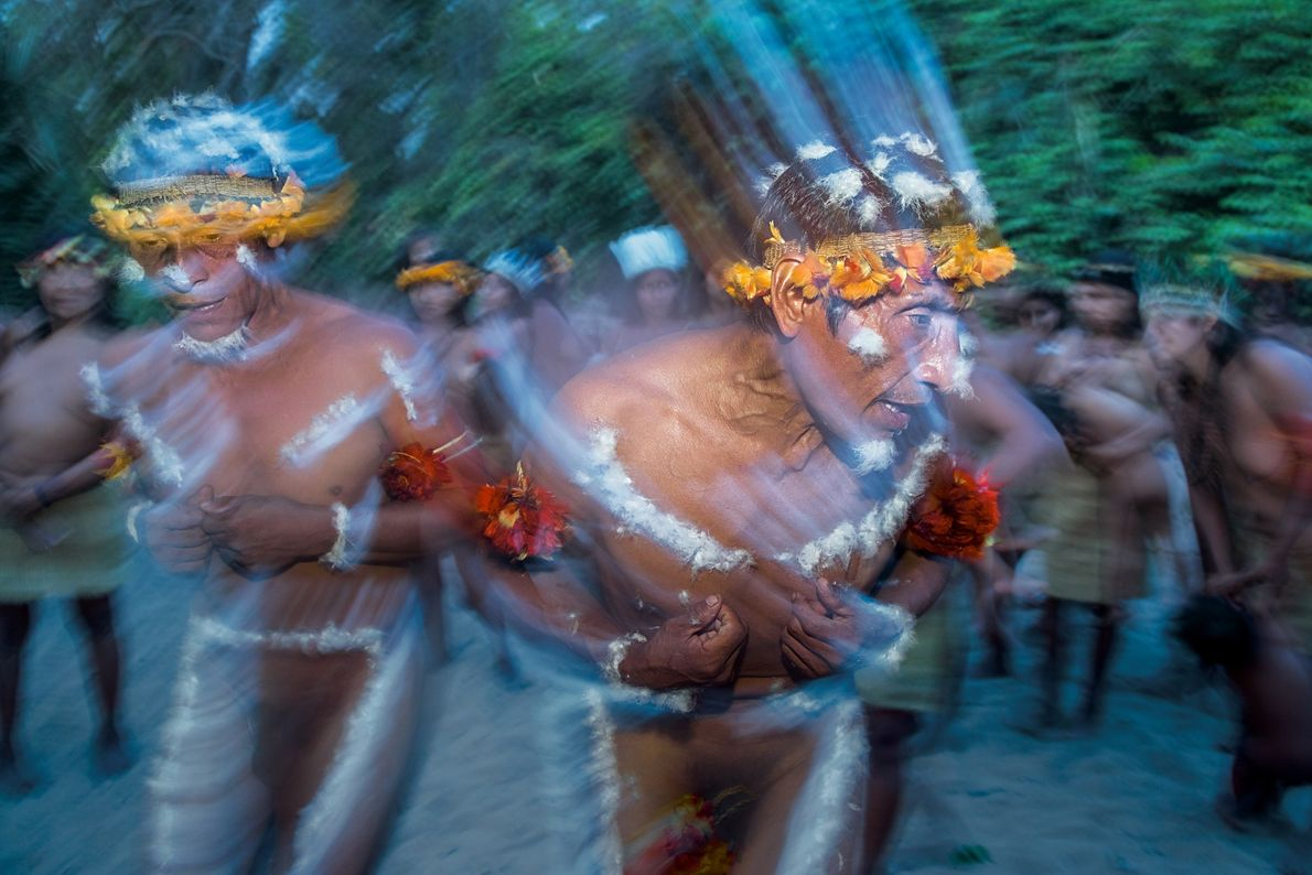 Awá elders dance in a trancelike state to commune with the  karawara—ancestors—and other spirits of the ...