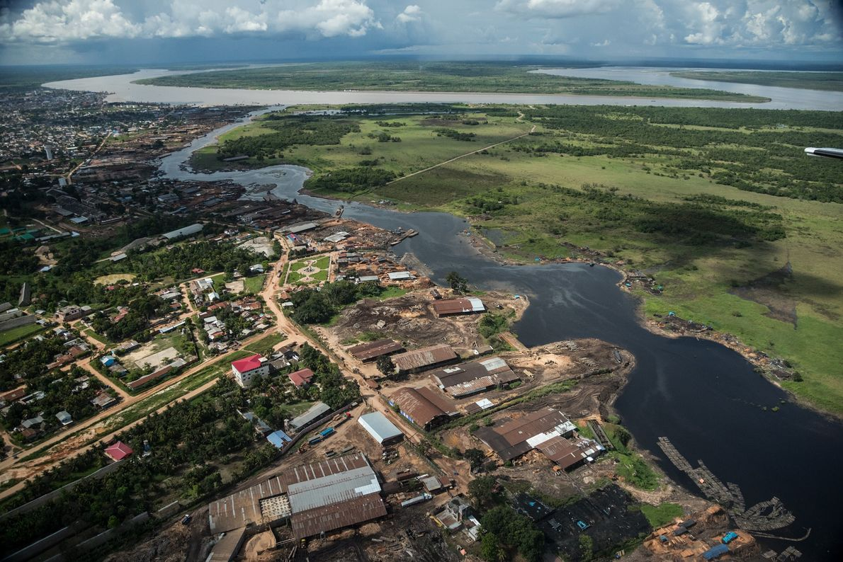 The city of Pucallpa, on the Ucayali River, is the hub of the logging industry in ...