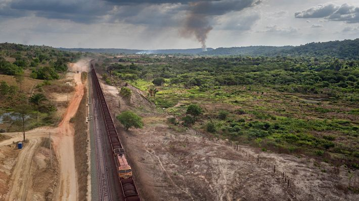 Mile-long trains brimming with iron ore clatter past the indigenous communities of Posto Awá and Tiracambu ...