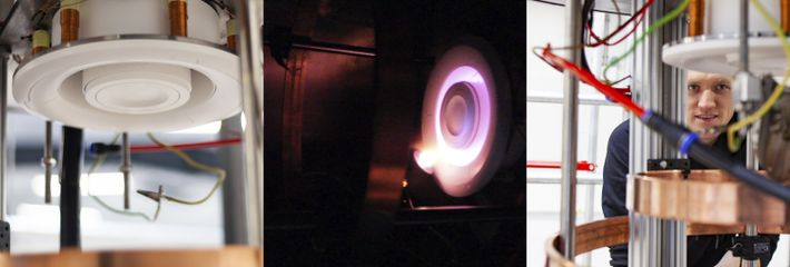 The argon fusion thruster exposed, and during tests. The purple glow is caused by the presence ...