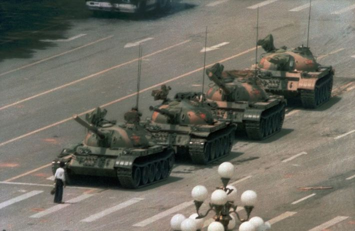 "The image of ""Tank Man,"" who briefly stopped a convoy of tanks driving out of Tiananmen ..."