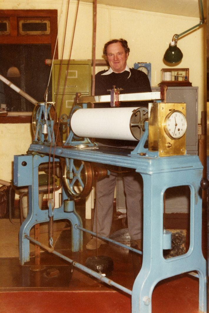 Inside the Newlyn Tidal Observatory in 1970. The device is a Munro gauge, which is attached ...