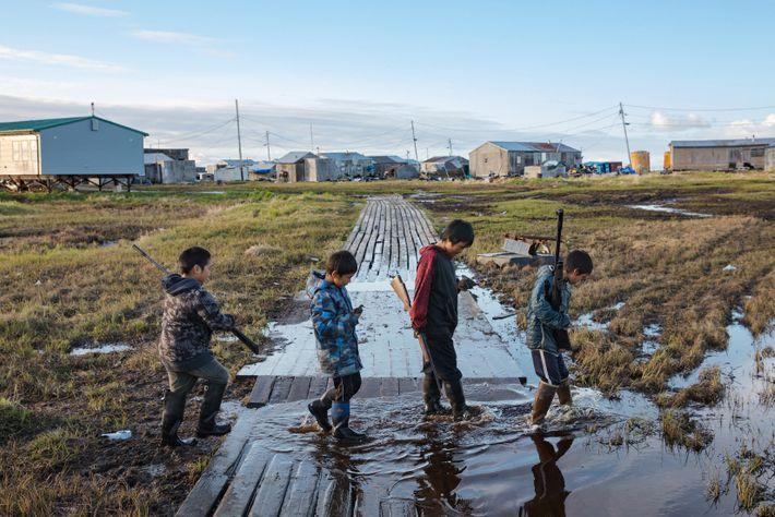 The village of Newtok, Alaska, population 380, is sinking as the permafrost beneath it thaws. On ...