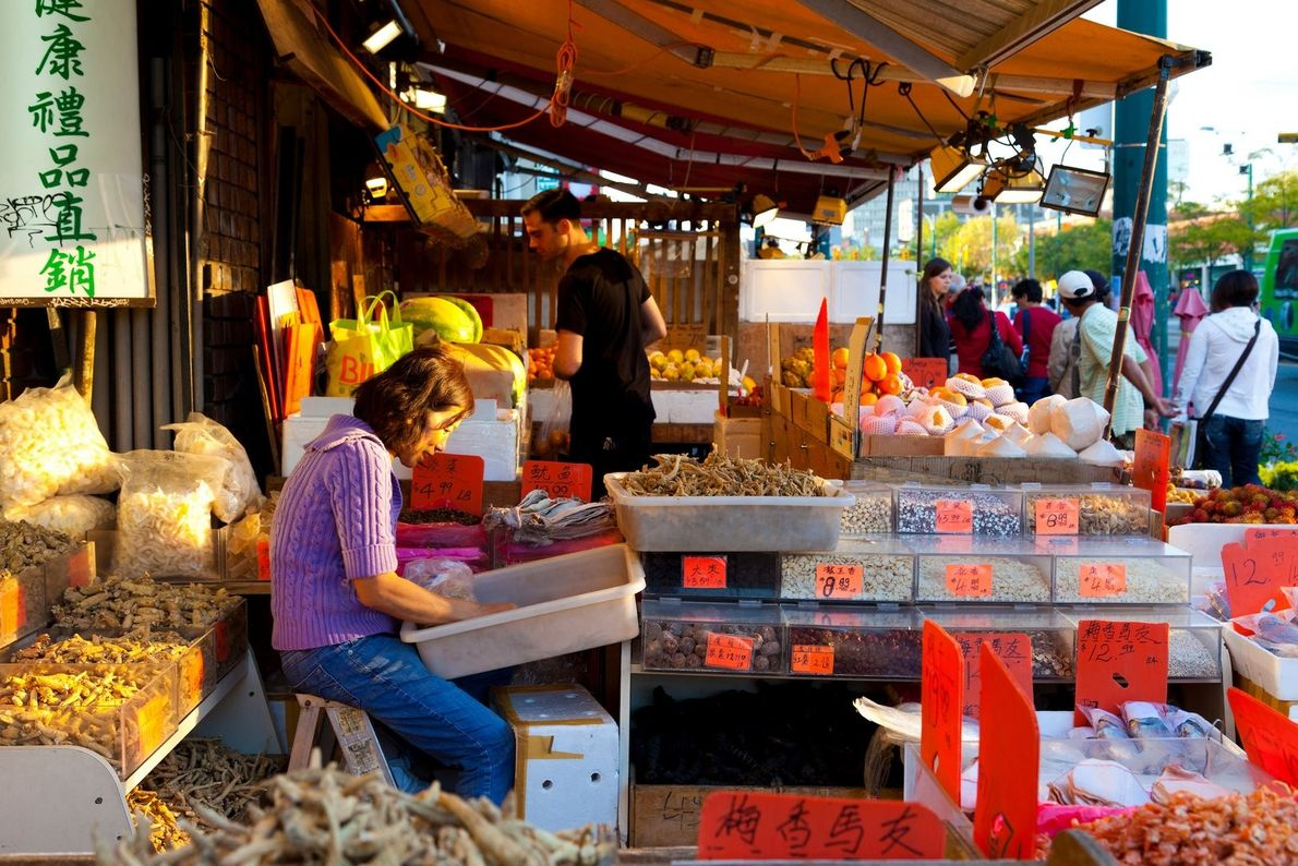 Chinatown in Toronto is filled with colourful markets and shops to sample a wide range of ...