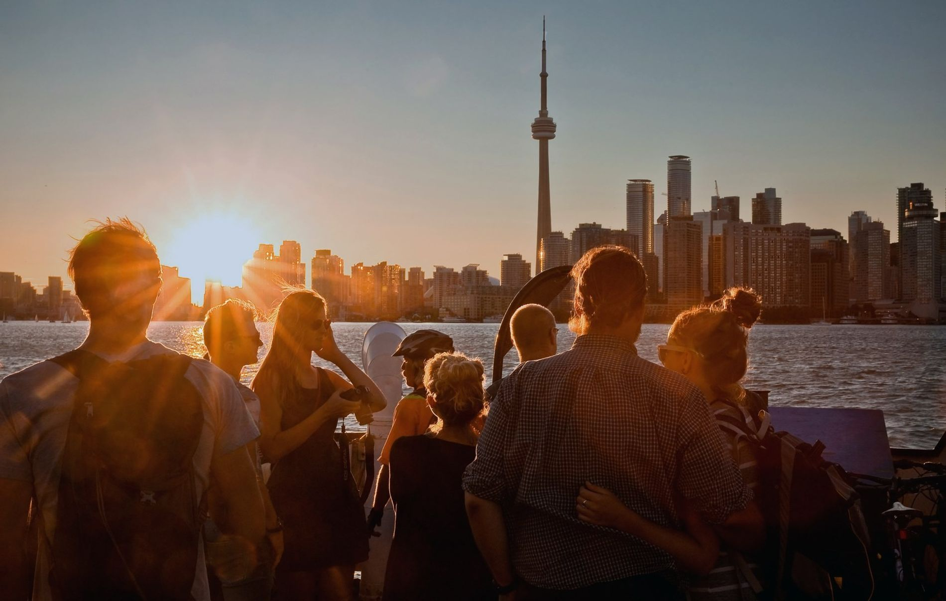View of Toronto skyline from the Waterfront and Toronto Islands neighbourhood.