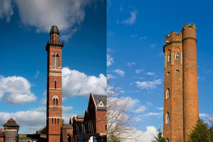Severn Trent Water Works tower and Perrett's Folly