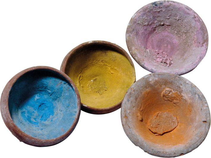 Traces of pigments remain in these first-century A.D. vessels from Hawara, Egypt. British Museum, Lonndon