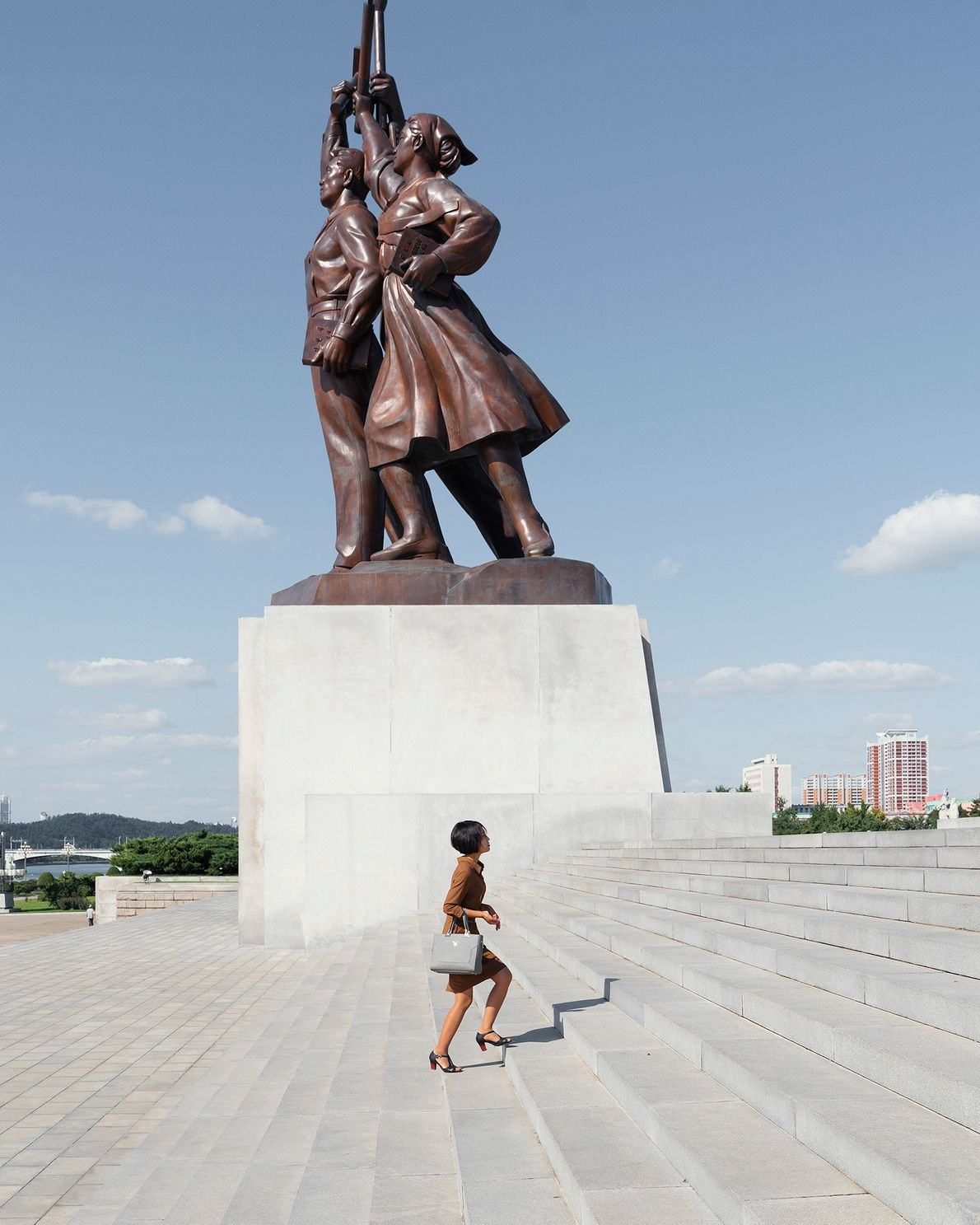 The Juche Tower is a monument in the North Korean capital.