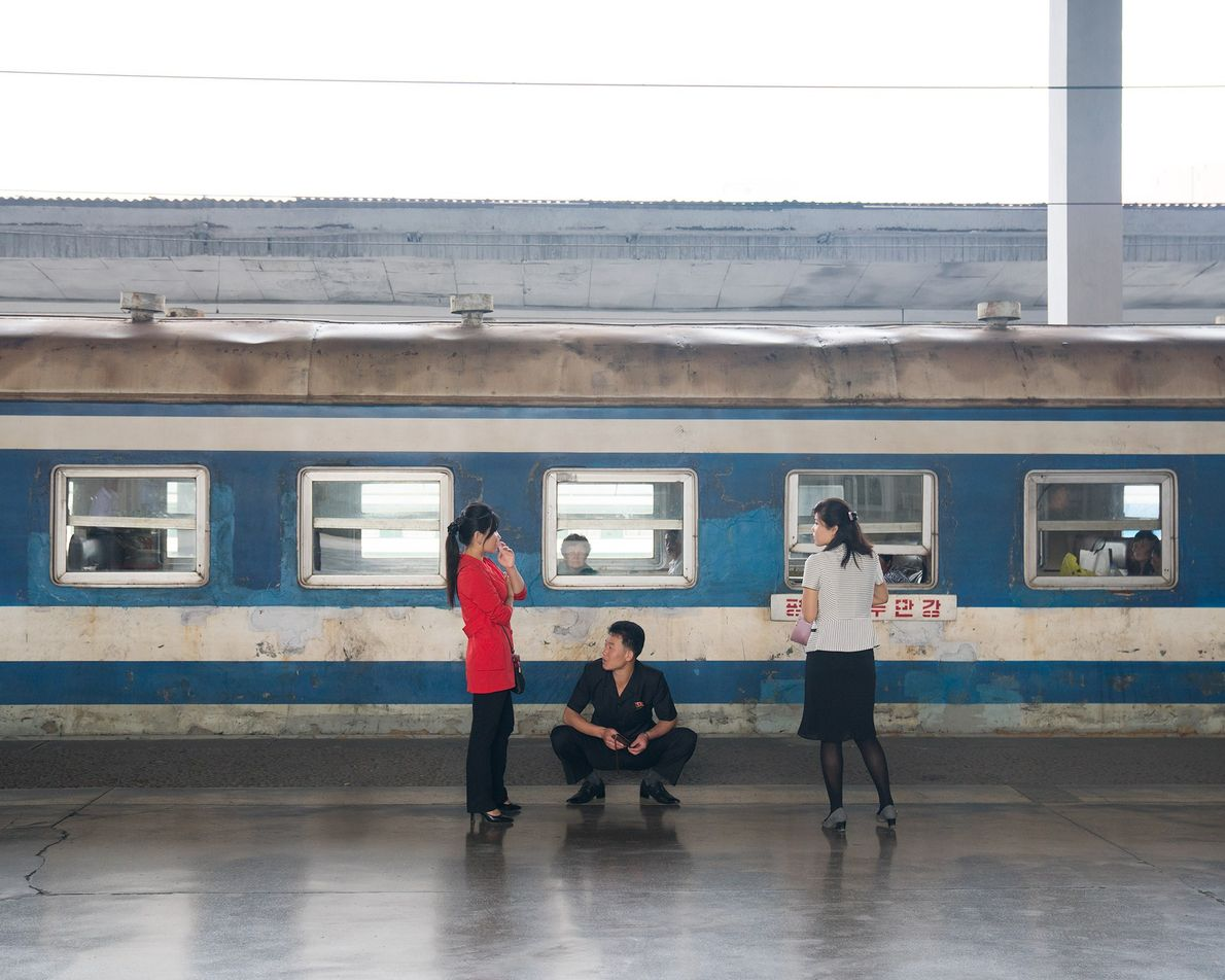 A railcar lingers in Pyongyang train station. Tourists are not permitted to travel on domestic trains ...