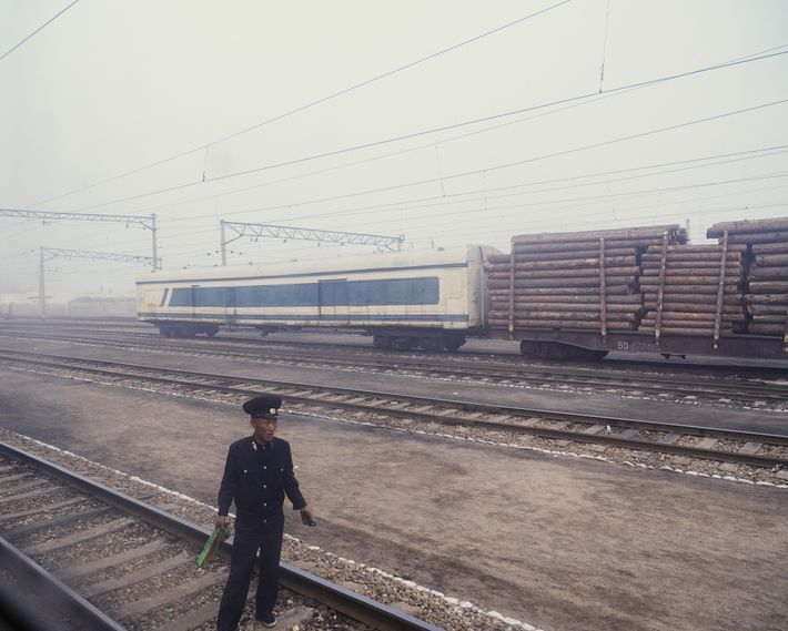 Fog obscures the Chongjin train station, a stop on the railway route from Pyongyang to Rason. ...