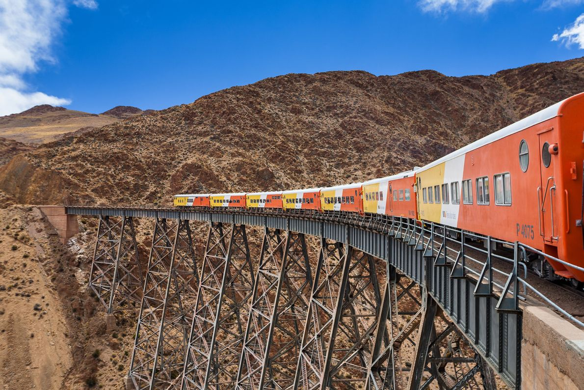 The Train to the Clouds climbs to 13,800 feet in the rugged Andes on its way ...