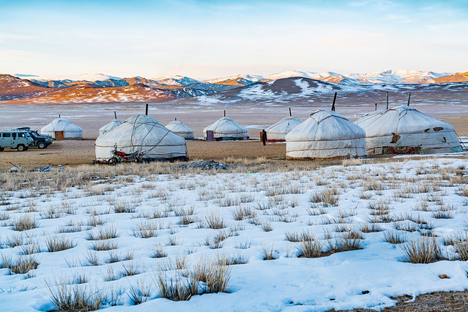 Gers on the snowy Mongolia steppe.