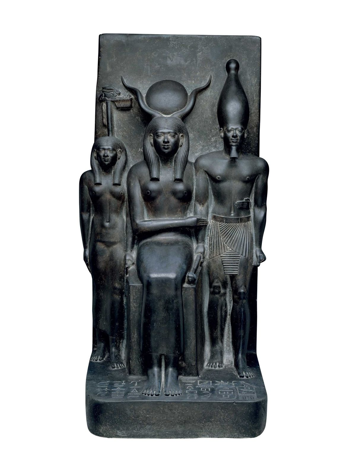 Divine protector, Hathor, enthroned, holds Menkaure by the waist, touching his right arm, in this piece ...