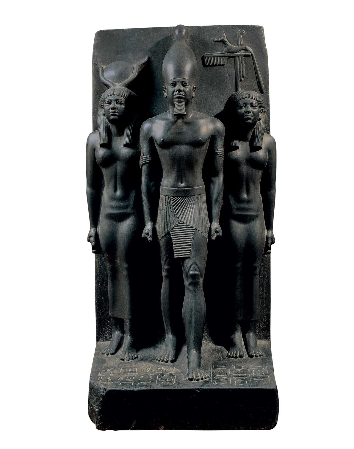 The pharaoh is flanked by Hathor on the left and on the right by the deity ...