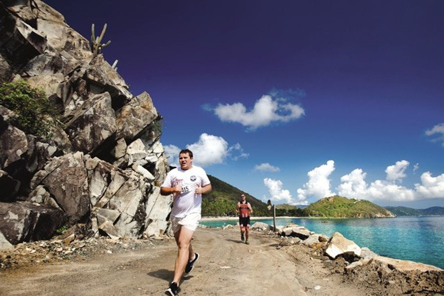 Runners training at Peter Island Resort & Spa, British Virgin Islands.