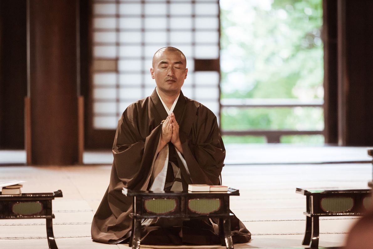 Meditating with Buddhist monks in Japan