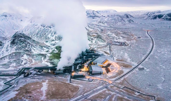 At a carbon capture facility in Hellisheidi, Iceland, the gas is mixed with water and piped ...