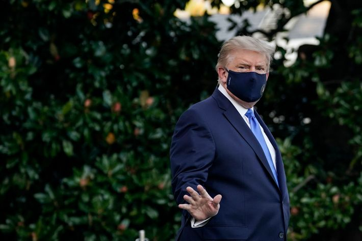 U.S. President Donald Trump leaves the White House for Walter Reed National Military Medical Center on ...