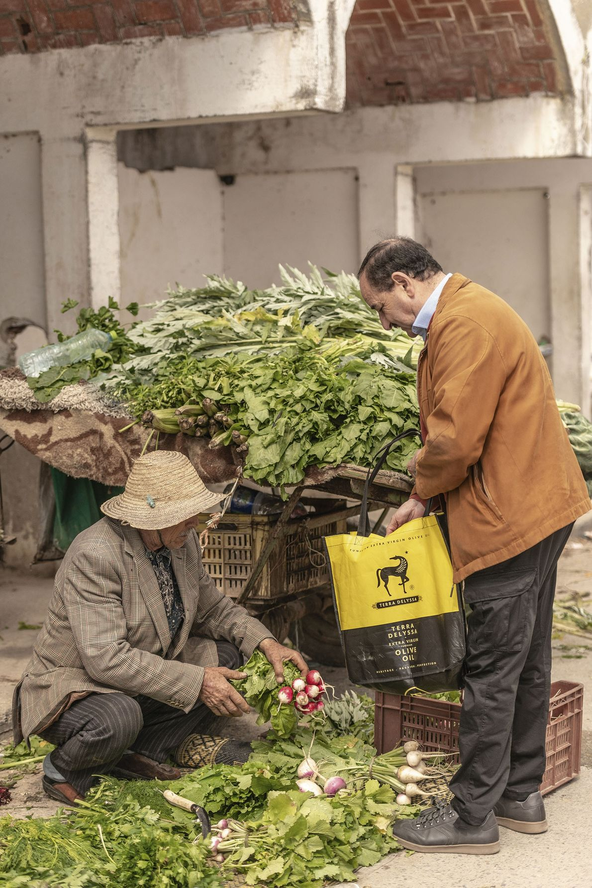 Buying radishes.