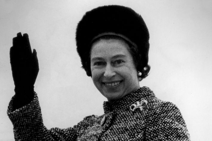 Queen Elizabeth II departed for a state visit to Indonesia in 1974 dressed in a Scottish ...