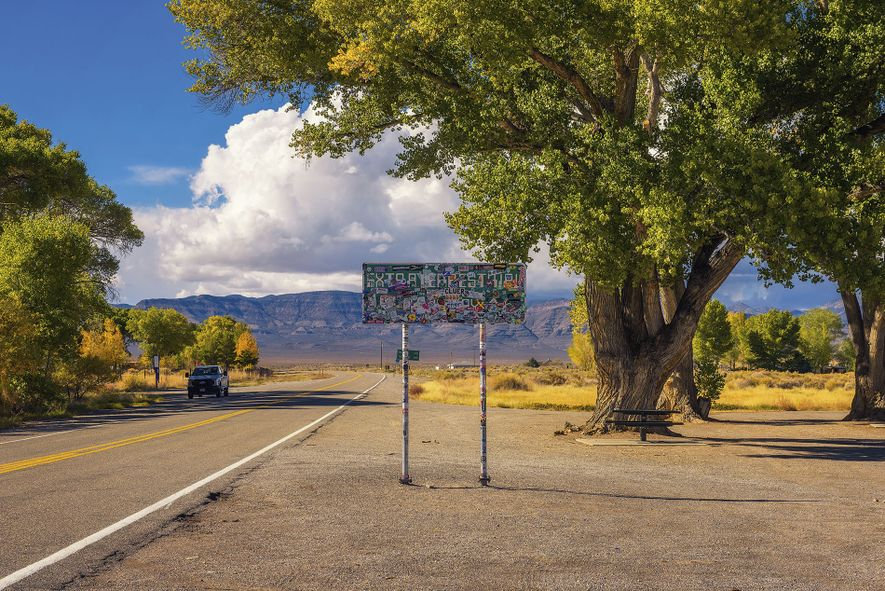 A road sign warns drivers about extra terrestrials in Crystal Springs, Nevada.