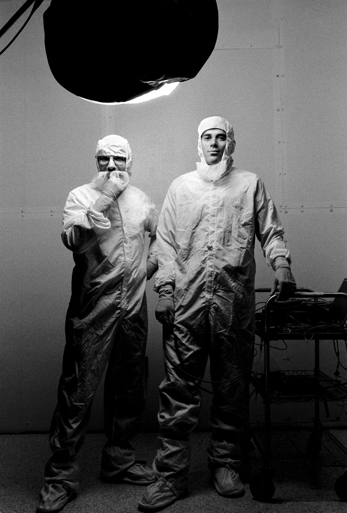 Uno Carlson (left) and Geffrey Ottman worked on the New Horizons spacecraft as power systems engineers.