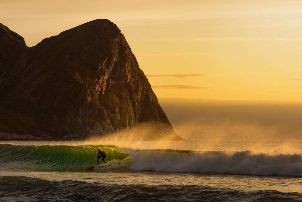 """""""Unstad is a surfer's paradise in the Arctic,"""" says photographer Stian Klo.""""This guy was enjoying the ..."""