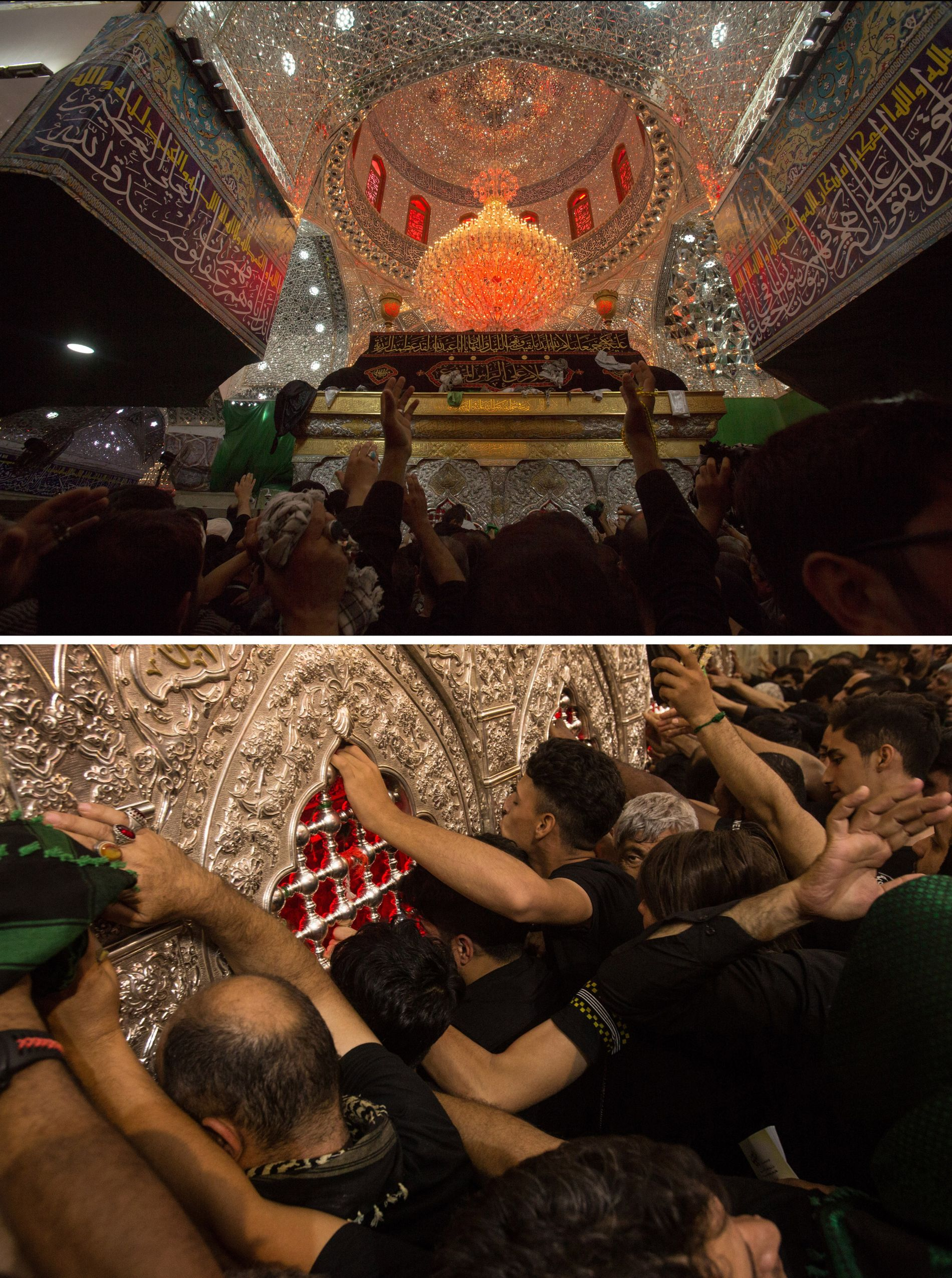 Bottom: Hundreds of people at a time attempt to touch the tomb of Imam Husayn (top), ...