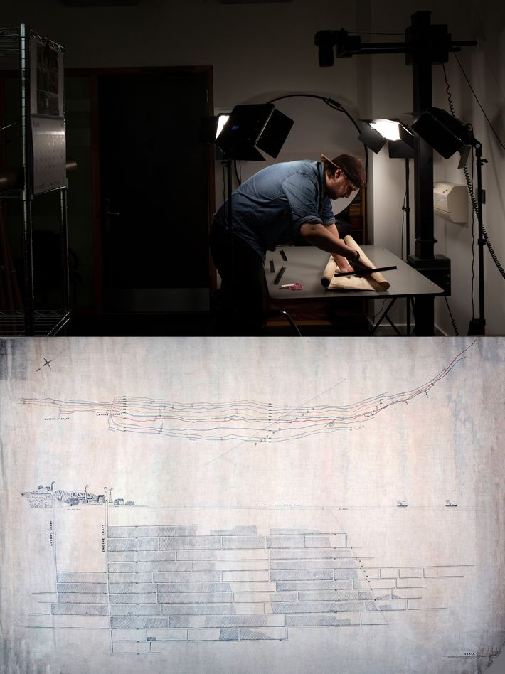 Top: an archivist prepares a map for digitisation at the University of Falmouth. Maps created during ...