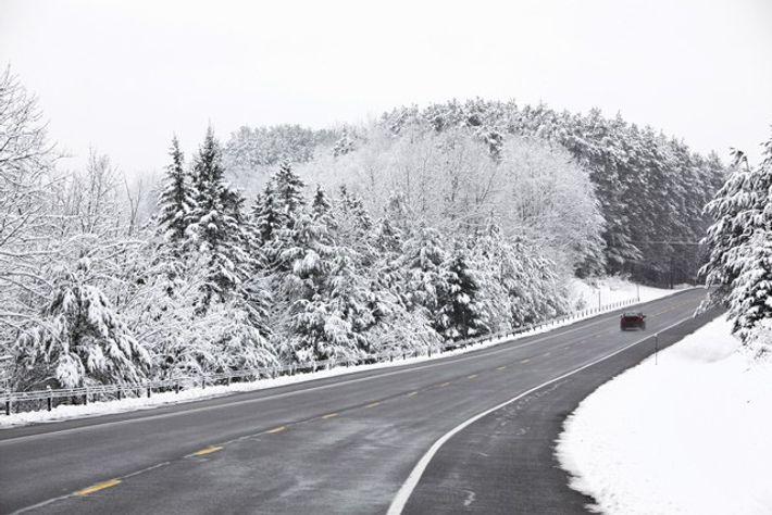 Driving through rural Adirondacks.