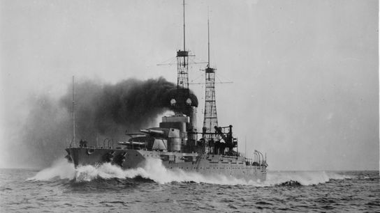 The U.S.S. Nevada, shown here in a trial run in 1916, fought in both the Atlantic ...