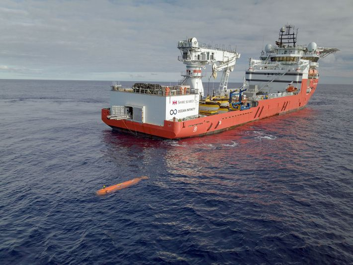 An autonomous underwater vehicle (AUV) launches from an Ocean Infinity vessel. An AUV was used to ...