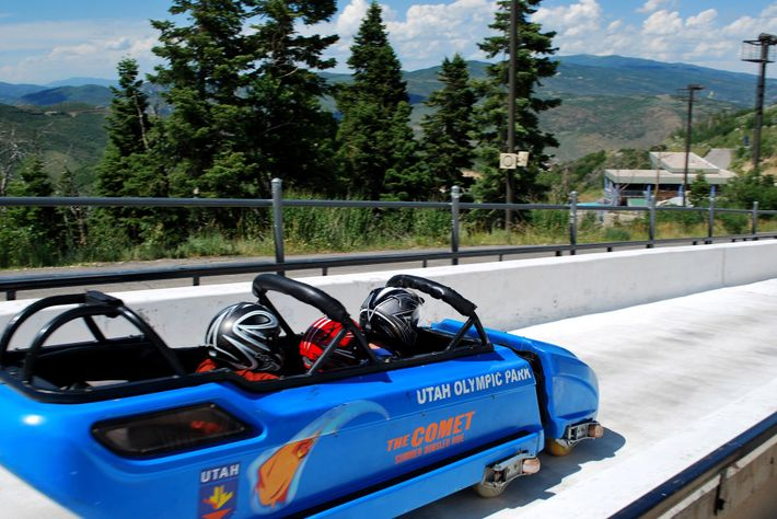 The bobsleigh at Utah Olympic Park is one of the longest slides in the world, offering ...