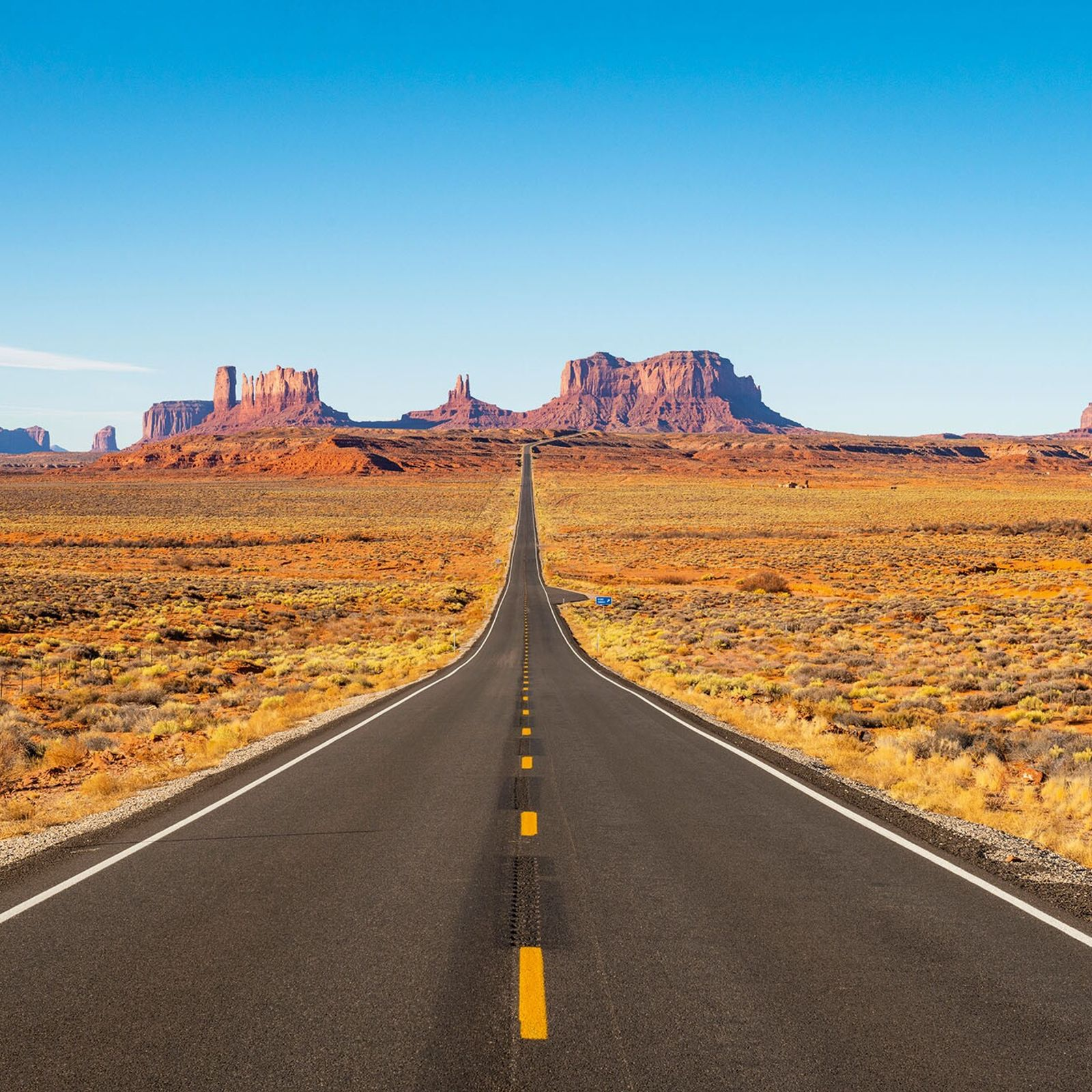 Highway 163 slices through the wild, rocky landscape of Utah. The road is nicknamed 'Forrest Gump ...
