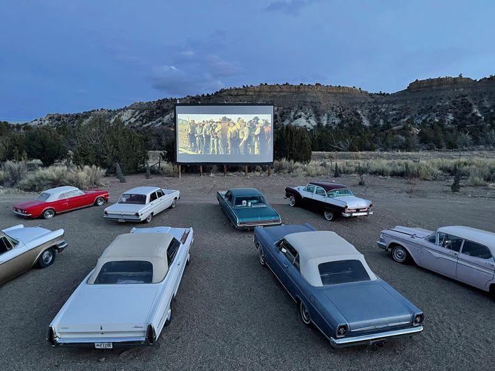 Yonder Escalante's campground has an authentic refurbished 1950s drive-in movie screen complete with a dozen vintage ...