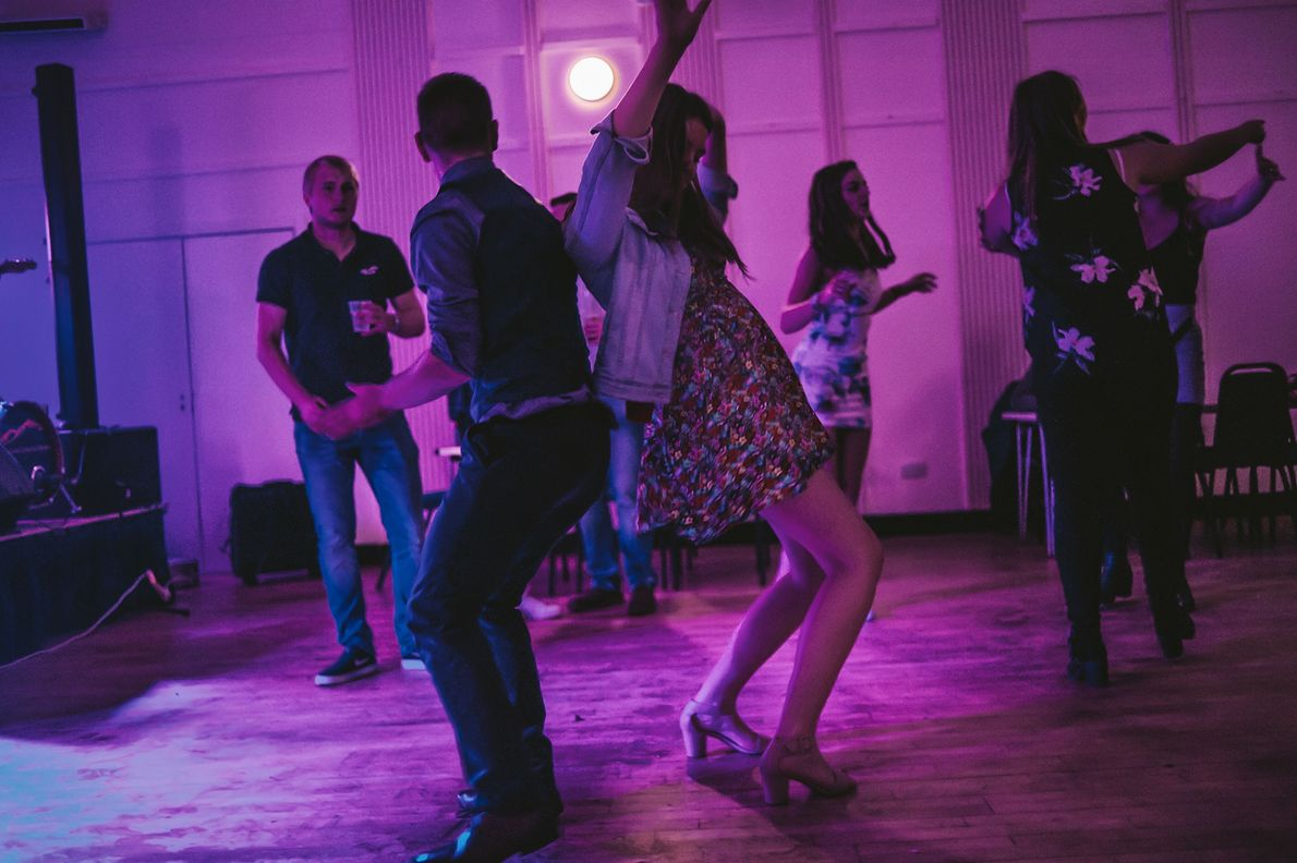 Young people on South Uist gather at a ceilidh, or folkdancing event, where a local band ...