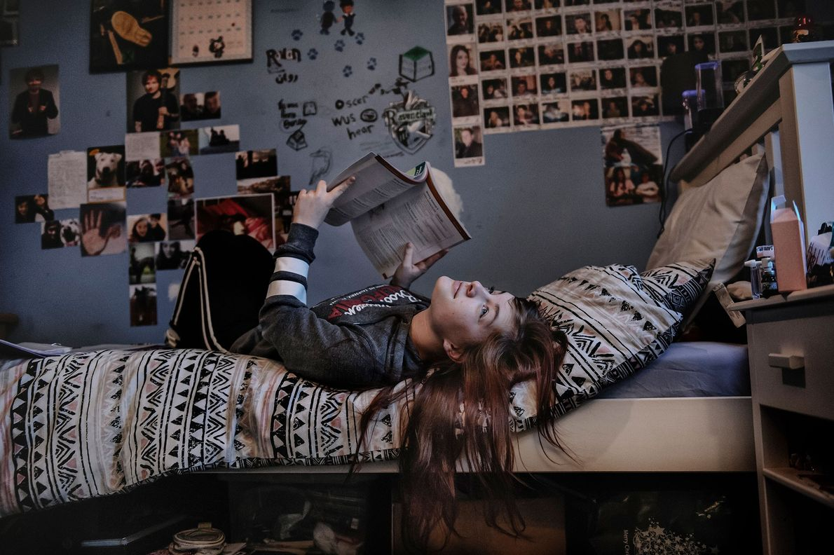 Rowan, 18, photographed in her bedroom. She will be leaving Lewis to continue her studies.