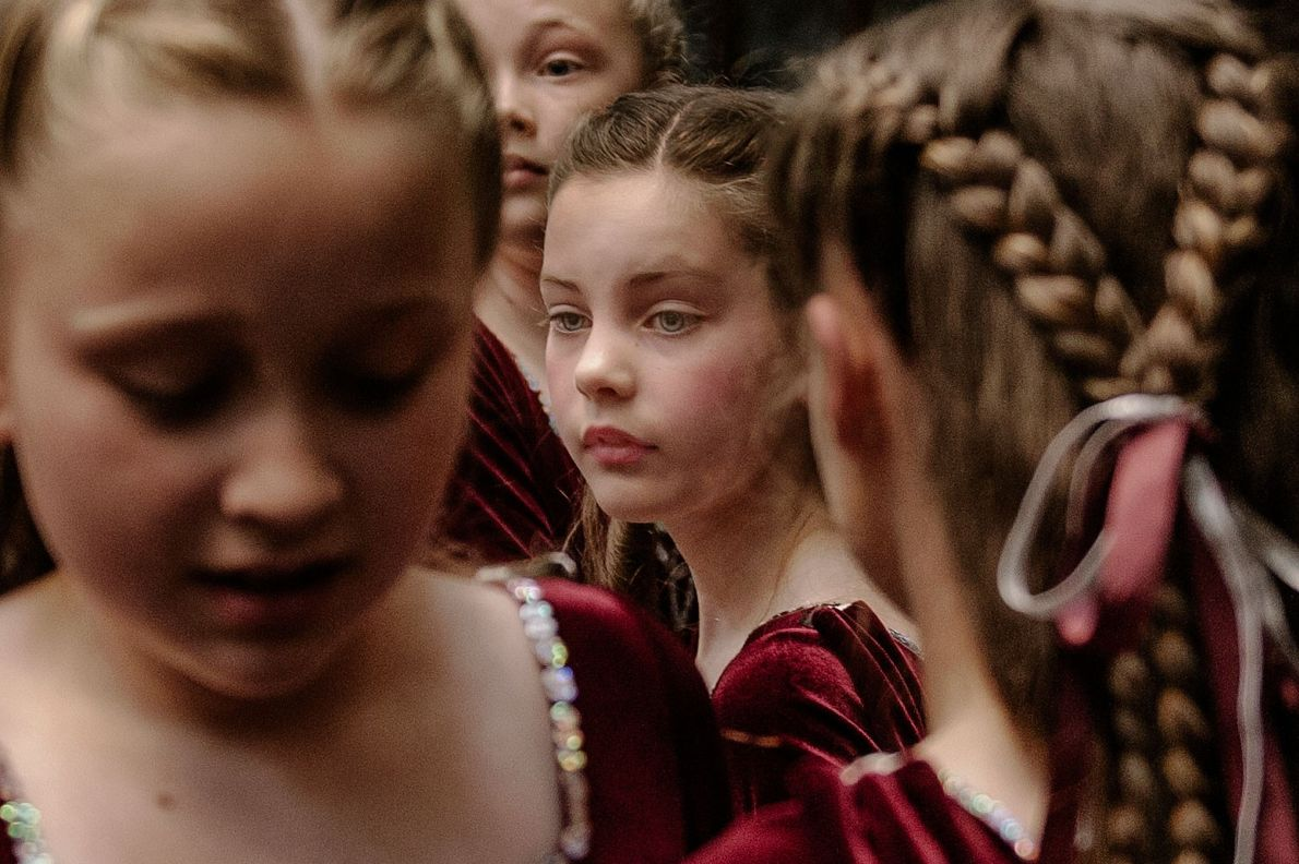 Girls at a Highland dance competition in Stornoway, Isle of Lewis.