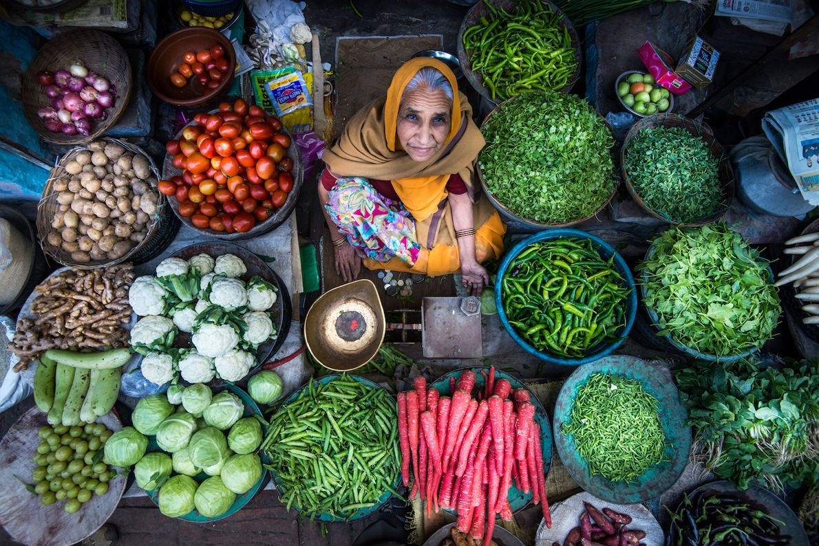 Travelling the backstreets of Jodhpur, Rajasthan I discovered this lady proudly displaying her vegetables for sale. ...