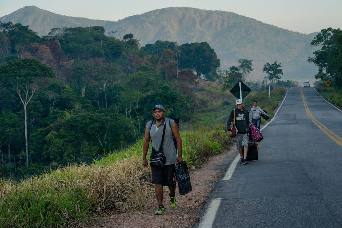 Venezuelan migrants leave Pacaraima on foot. Most of them are seeking a better future in Boa ...